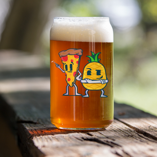 Pizza & Pineapple Can Glass
